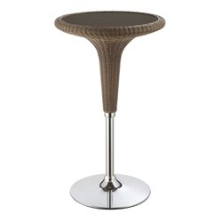 Bowery Hill Rattan Round Pub Table in Dark Brown and Chrome