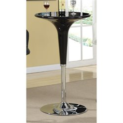 Bowery Hill Round Adjustable Pub Table in Black