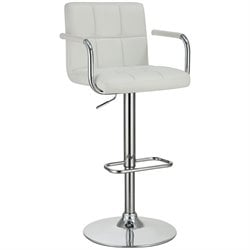 Bowery Hill Adjustable Bar Stool in White