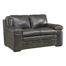 Bowery Hill Leather Loveseat in Charcoal