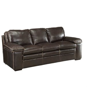 Bowery Hill Leather Sofa in Brown