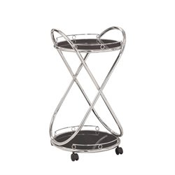 Bowery Hill Metal Serving Cart in Chrome