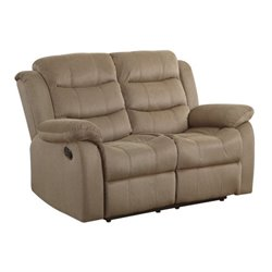 Bowery Hill Motion Reclining Loveseat in Tan