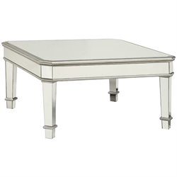 Bowery Hill Square Mirrored Coffee Table in Silver