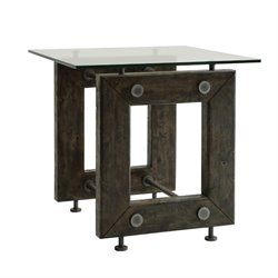 Bowery Hill Square Glass Top End Table in Brown