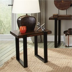 Bowery Hill End Table in Vintage Brown and Black