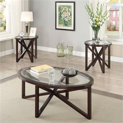 Bowery Hill 3 Piece Glass Top Coffee Table Set in Cappuccino