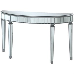 Bowery Hill Half Oval Mirror Console Table in Silver