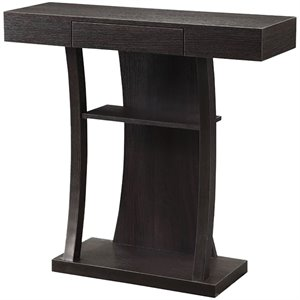 Bowery Hill Pedestal Storage Console Table in Cappuccino