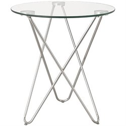 Bowery Hill Square Glass Top End Table in Chrome