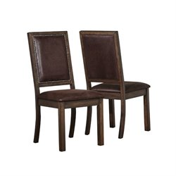 Bowery Hill Rustic Solid Wood Dining Chair in Wire Brushed Cocoa
