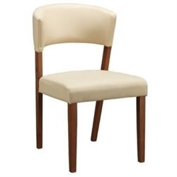 Bowery Hill Upholstered Dining Chair in Cream and Nutmeg