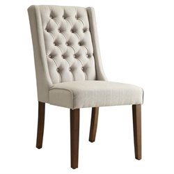 Bowery Hill Tufted Back Dining Chair in Beige and Brown
