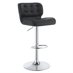 Bowery Hill Faux Leather Upholstered Adjustable Bar Stool in Black