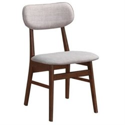 Bowery Hill Upholstered Dining Chair in Gray and Chestnut