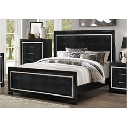Bowery Hill Queen Faux Leather Bed in Black