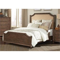Bowery Hill Upholstered Queen Bed in Light Brown