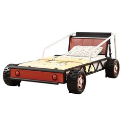 Bowery Hill Race Car Twin Bed in Black and Red