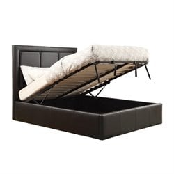 Bowery Hill Upholstered Queen Storage Bed in Black