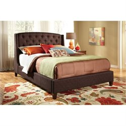 Bowery Hill Upholstered Queen Platform Bed in Brown
