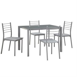 Bowery Hill 5 Piece Dining Set in Gray