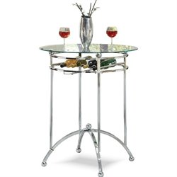 Bowery Hill Round Modern Glass Top Pub Table in Chrome