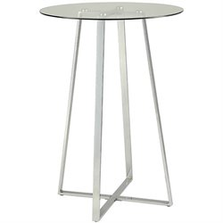 Bowery Hill Round Glass Top Pub Table in Chrome