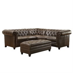 Bowery Hill Button Tufted Corner Sectional in Dark Brown