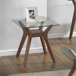 Bowery Hill Square Glass Top End Table in Nutmeg