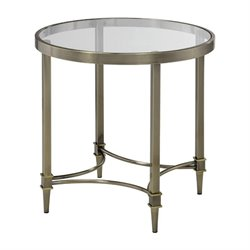 Bowery Hill Round Glass Top End Table in Bronze