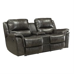 Bowery Hill Leather Reclining Loveseat with Console in Charcoal