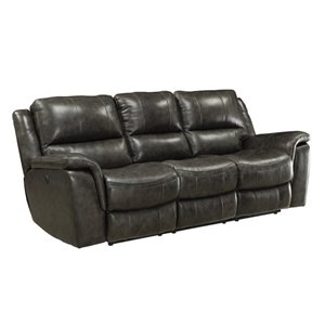 Bowery Hill Leather Reclining Sofa with USB Port in Charcoal