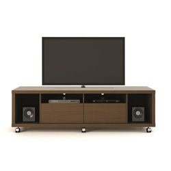 MER-995 TV Stand with Casters in Nut Brown