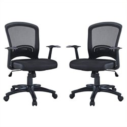 Bowery Hill Mesh Office Chair in Black (Set of 2)