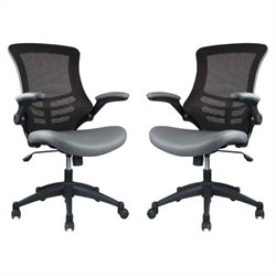 Bowery Hill Faux Leather Mesh Office Chair in Gray (Set of 2)