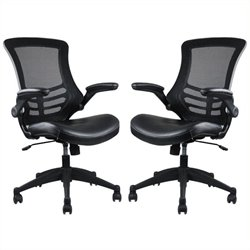 Bowery Hill Faux Leather Mesh Office Chair in Black (Set of 2)