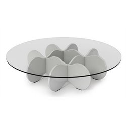 Bowery Hill Round Glass Top Coffee Table in Glossy White