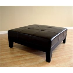 Bowery Hill Square Leather Coffee Table Ottoman in Black