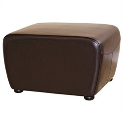 Bowery Hill Leather Ottoman in Dark Brown