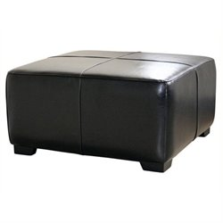 Bowery Hill Square Leather Ottoman in Black
