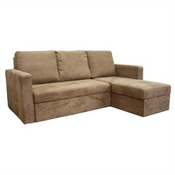 MER-992 Microfiber Sleeper Sofa in Tan