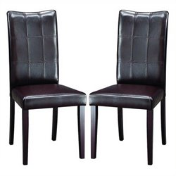 Bowery Hill Faux Leather Dining Chair in Dark Brown (Set of 2)