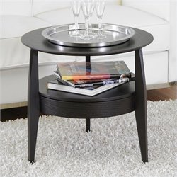 Bowery Hill Round End Table in Black
