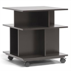 Bowery Hill Storage End Table with Casters in Dark Brown