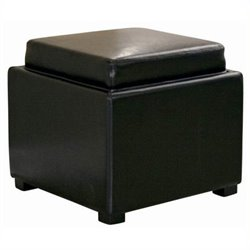 Bowery Hill Square Leather Storage Ottoman in Black