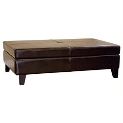 Bowery Hill Leather Storage Coffee Table Ottoman in Dark Brown