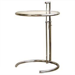 Bowery Hill Round Glass Top End Table in Steel