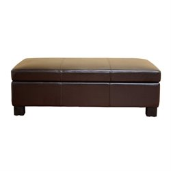 Bowery Hill Leather Storage Ottoman in Brown