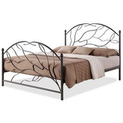 Bowery Hill Full Metal Platform Bed in Antique Bronze