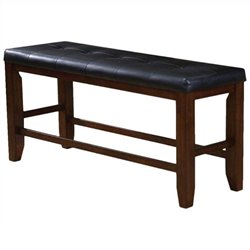 Bowery Hill Counter Height Bench in Cherry and Black